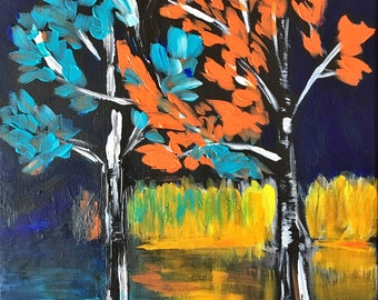 Autumn night - Original Acrylic Canvas