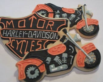 Motorcycle cookies | Harley inspired party favors| Custom decorated cookies for boys birthday | Hog | Chopper