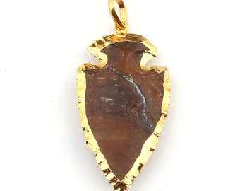 24K Gold Electro-Plated Arrowhead Pendant