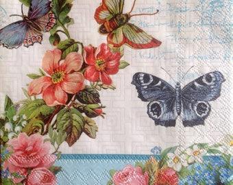 4x  Paper Napkins for Decoupage Scrapbooking Craft Butterflies Flowers 088