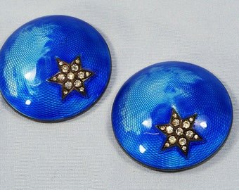 Antique French Silver Enamel Dress Clips