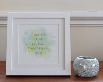 Framed hope print