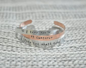 Personalized hand-stamped bangle bracelets, set of three