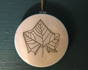 Embroidered Leaf Rubbing