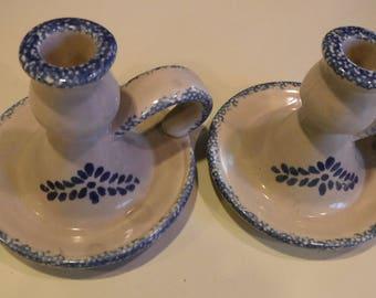 Candlesticks, holders, blue/cream, 1970's, graniteware look, like new