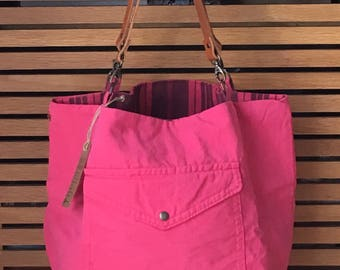 Tote Reverso, creating craft up-cycled, made in France, Indian pink