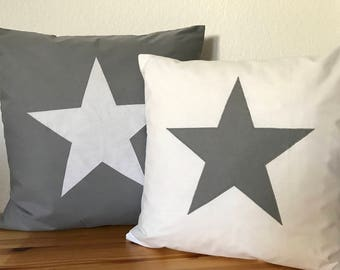 Country style Cushion cover * pillow * star * white/grey 50x50cm.