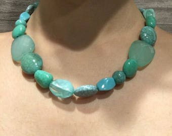 Aqua Assorted Bead Necklace