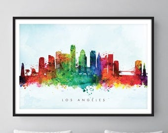 Los Angeles Skyline, Los Angeles California Cityscape Art Print Watercolor – [SWLAX03]