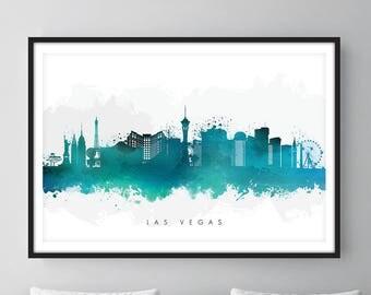 Las Vegas Skyline, Las Vegas Nevada Cityscape Art Print, Wall Art, Watercolor, Watercolour Art Decor [SWLAS07]