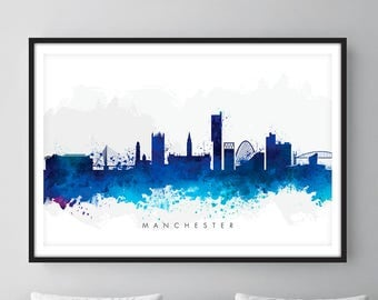 Manchester Skyline, Manchester England Cityscape England, Art Print, Wall Art, Watercolor, Watercolour Art Decor [SWMAN06]