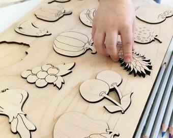 "Shape sorter "" Fruits & Vegetables"" Handmade Natural baby toys toddler learning fruits Montessori"
