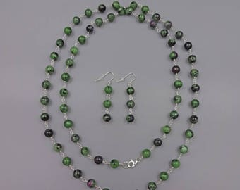 "38"" Ruby Zoisite Wire Necklace"