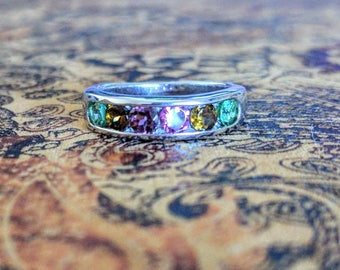 Multi-Coloured Tourmaline Gemstone Ring, size 6 US, 925 Sterling Silver, Faceted & Channel Set Stones, Stacker Ring. Pink, Green, Amber, NEW
