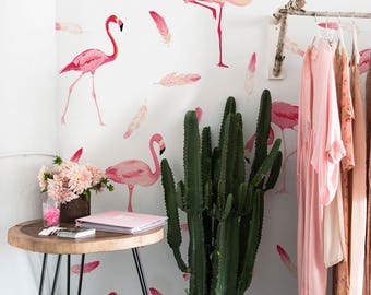 Flamingo Wallpaper - Adhesive - Removable wallpaper - Wall covering - Self adhesive - Repositionable - Wall decal - Peel and stick - 90