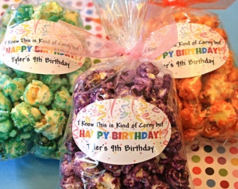 18 Pick The Flavor Personalized Birthday Party Favor- I know this is kind of corny but Happy Birthday- Handmade Gourmet Popcorn