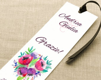 Placeholder wedding. Bookmark thank you wedding. Placeholder floral with Purple Ribbon, with or without details.