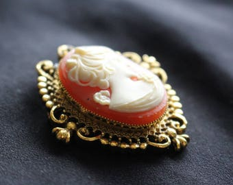 Pink and White Cameo Pin Pendant