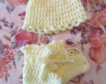 Pale Yellow Baby Hat and Bootie Set