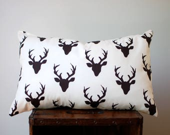 Mini lumbar accent pillow, nursery pillow, kids pillow, pet pillow: WOODLAND antlers print // only 1 available!