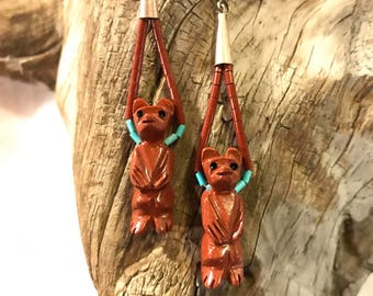 Zuni Pipestone & Turquoise Bear Fetish Earrings