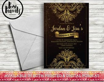 Gold Ornament - Luxury Customised Engagement Party Invitations (Printed & Digital)