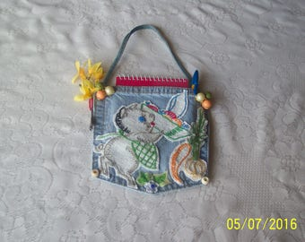 Pad Pocket with embroydred pig and vegetables, notepad and pen.  Free Shipping in U.S.