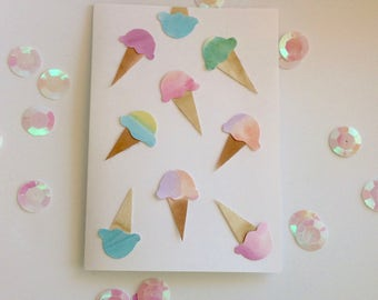 SALE! 25% OFF- Yay, ice cream! Ice Cream Card; Ice Cream Birthday Card- or maybe it's gelato? Blank custom card- watercolour and paper art