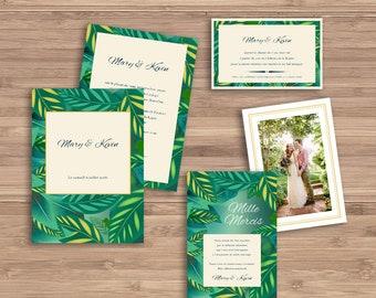 Leaves wedding invitations