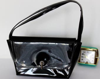 Vintage black patent faux leather bag small black bag - very nice! Vegan vintage black bag