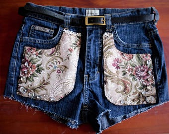 Refashioned High Waisted Fabric Patched Jeweled Denim Shorts