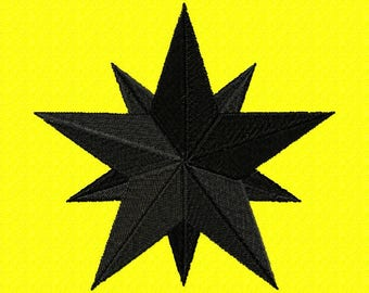Machine embroidery design SCA Ansteorra Black Star 2 sizes
