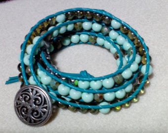 Turquoise Leather Five Wrap Bracelet
