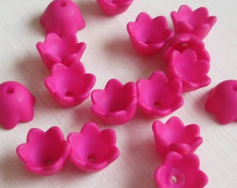 Acrylic Lucite Flower Beads, Small Bell Flowers, Solid Bright Pink