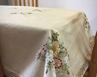 Ribbon Embroidered Dining table cover