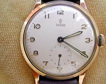 1960 9K SOLID GOLD ROLEX Tudor Gentleman's Britsh Rail Watch, Serviced, Rolex Winding Crown.