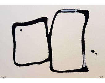 Original abstract painting study modern cintempory art ink inks home wall art
