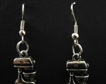 Cake Mixer Silver Plated Dangle Earrings