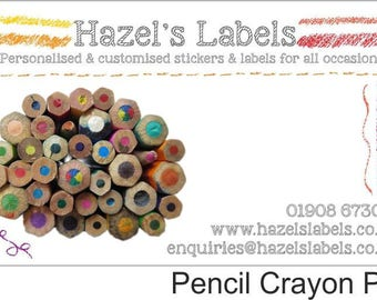 Customised rectangular business label / sticker - Pencil Crayon Ends