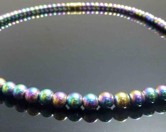 Rainbow Silver Crystal Beads Necklace-Free shipping !