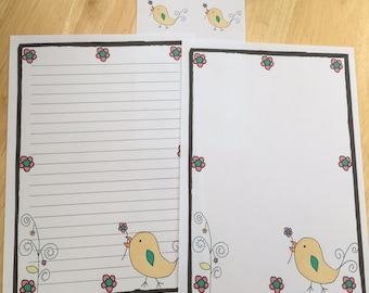 Cute bird Letter Paper Writing Set with envelope seals (#2)