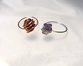 Amethyst Semi- precious stone ring