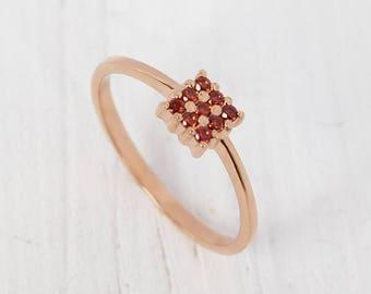 Garnet ring gold, Square ring, Red stone ring, Anniversary ring gold, Fine gold ring, Dainty ring gold, Rose gold ring, Everyday ring gold