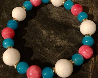 White, Turquoise And Pink Stretch Bracelet