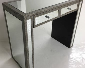 Moc Croc Embossed Mirrored 2 Drawer Dressing Console Table Desk