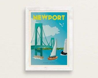 Newport RI Vintage Style Travel Giclée Poster Art Print / Pell Bridge