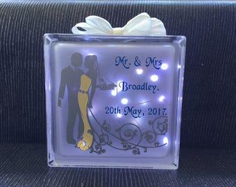 Wedding day glass blocks with lights
