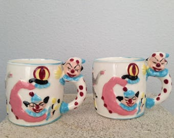Vintage Hand-painted Baby Cup with Clown, Monkey & Elephant - RARE - Set of 2