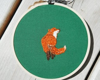 Fox Embroidery Art - Modern Embroidery - Embroidery Hoop - Gift - Wall Hanging - Home Decor - Embroidery Hoop Art