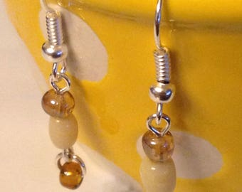 Amber and Ivory Earrings